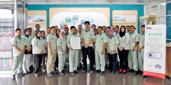 キャタラーインドネシアが「ISO22301」の認証を取得しました