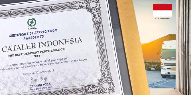 キャタラーインドネシアが、PT.サクラジャバインドネシア殿より「Best Delivery Performance」を受賞しました