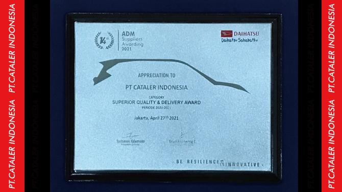 キャタラーインドネシアがADMよりSuperior Quality & Delivery Awardを受賞しました